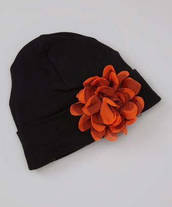 Black & Orange Tulle Flower Beanie