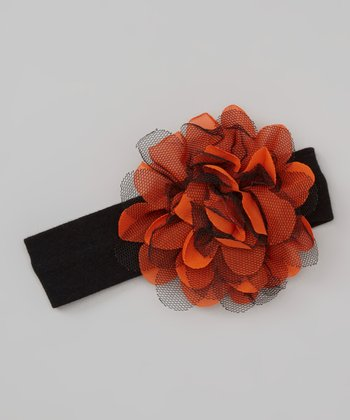 Black & Orange Tulle Flower Headband