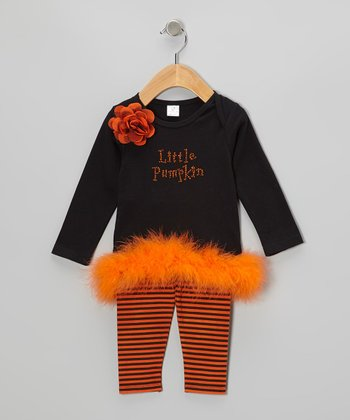 Black Pumpkin Marabou Tunic & Stripe Leggings - Infant