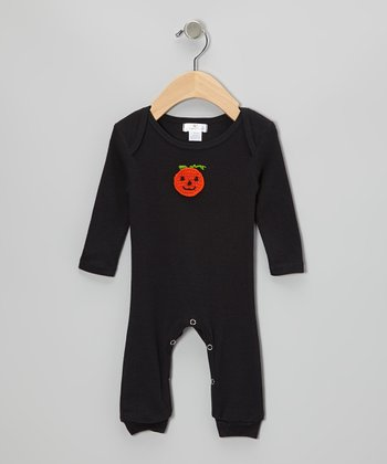 Black Crocheted Pumpkin Playsuit - Infant