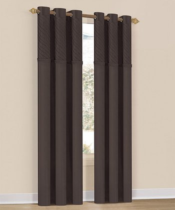 Chocolate Annecy Grommet Curtain Panel - Set of Two
