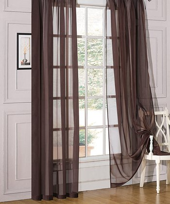 Chocolate Sheer Annecy Curtain Panel - Set of Two