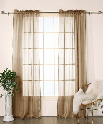 Chocolate Stripe Chianti Satin Curtain Panel - Set of Two