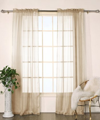 Mocha Stripe Chianti Satin Curtain Panel - Set of Two
