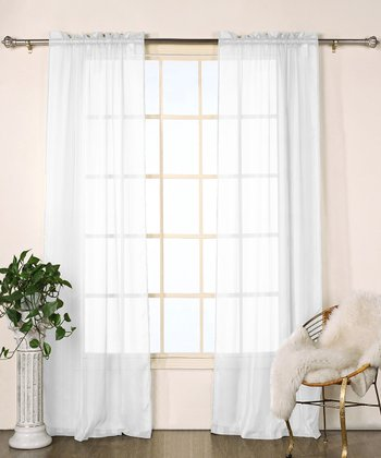 White Stripe Chianti Satin Curtain Panel - Set of Two