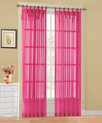 Racy Pink Leslie Tie Top Sheer Curtain Panel