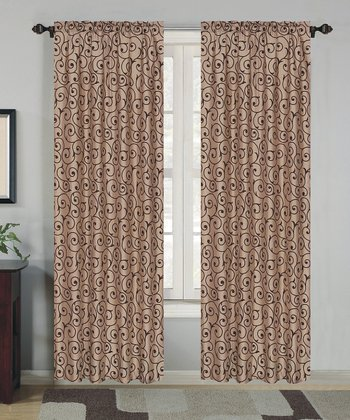 Chocolate Flocked Curtain Panel - Set of Two