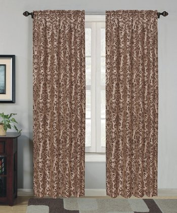 Taupe Flocked Curtain Panel - Set of Two