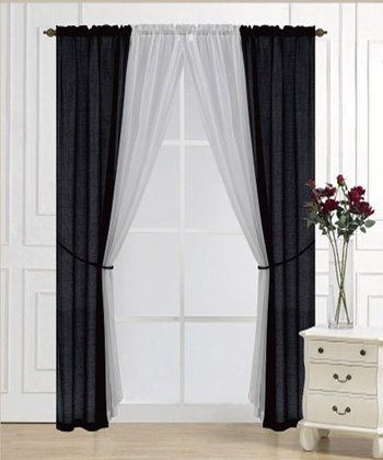 Black Solid Voile Six-Piece Curtain Set
