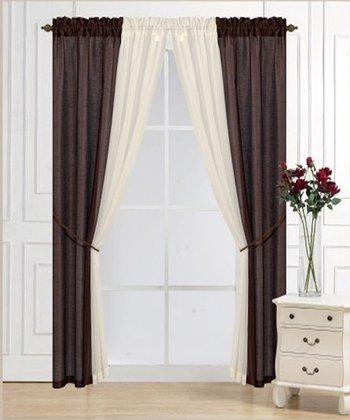 Chocolate Solid Voile Six-Piece Curtain Set
