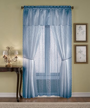 Blue Solid Voile Six-Piece Curtain Set