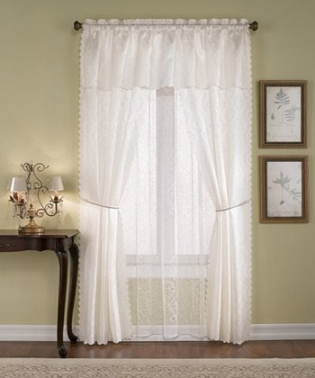 Beige Solid Voile Six-Piece Curtain Set