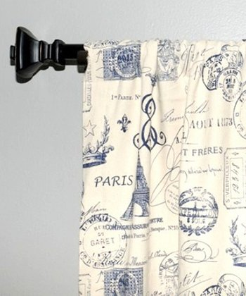Navy French Stamp Curtain Panel