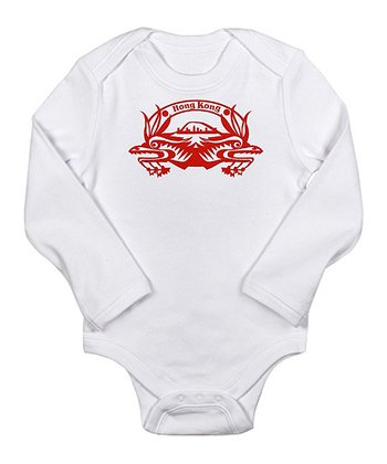Cloud White Hong Kong Passport Stamp Long-Sleeve Bodysuit