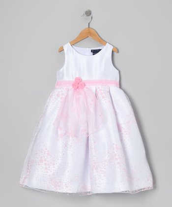 White & Pink Daelynn Party Dress - Toddler & Girls