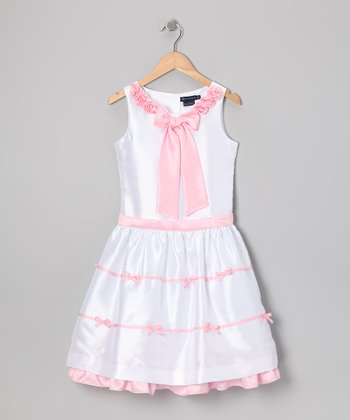 White & Pink Dameshia Party Dress - Toddler & Girls