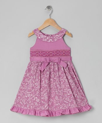 Plum Ellen Shirred Dress - Toddler & Girls