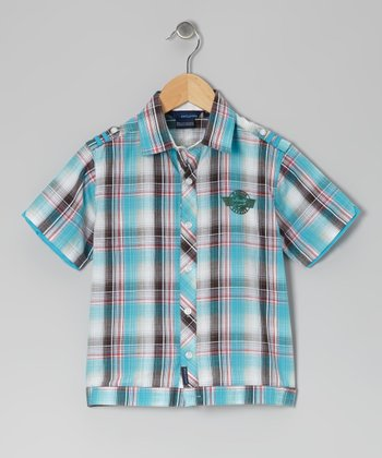Teal & Red Jassmon Button-Up - Toddler & Boys