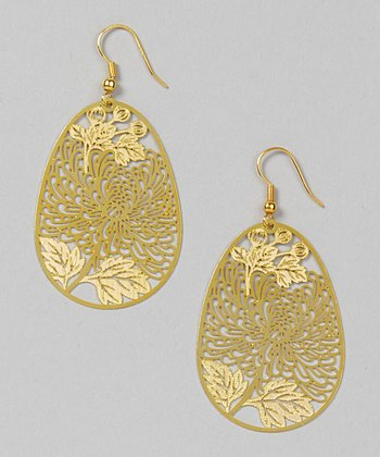 Gold Chrysanthemum Filigree Earrings