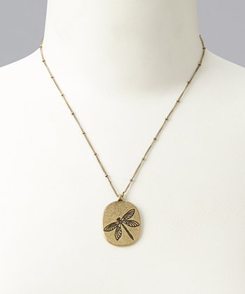 Antique Gold Darby Dragonfly Necklace