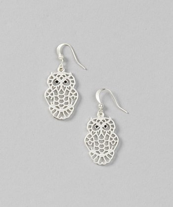 Silver Cutout Owl Earrings