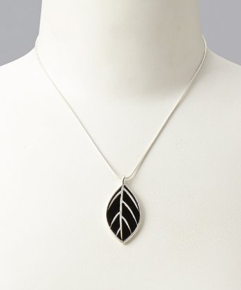 Teal & Black Bakula Reversible Pendant Necklace