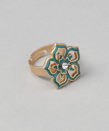 Gold & Teal Tyra Ring