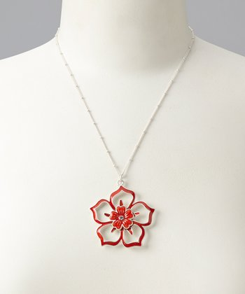 Silver & Red Tyra Necklace