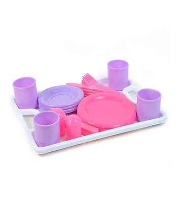 Pink & Purple Play Kitchen Dinnerware Set