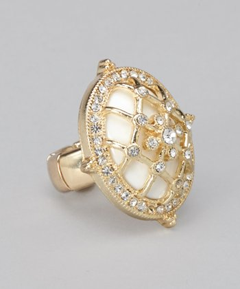 Gold & White Lattice Ring