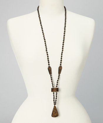 Black Beaded Egyptian Pendant Necklace