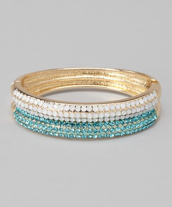 Gold & Aqua Crystal Bangle