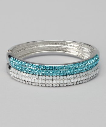 Silver & Aqua Crystal Bangle