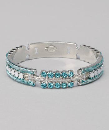 Silver & Aqua Cleft Bangle