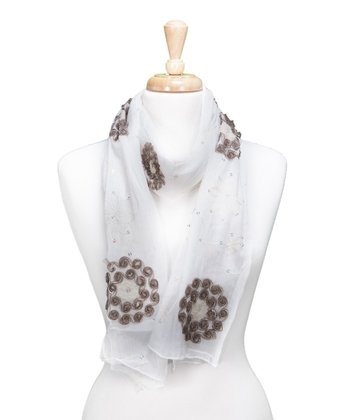 White Embroidered Flower Scarf