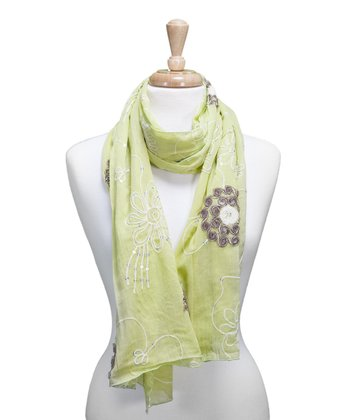 Lime Embroidered Flower Scarf