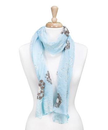 Turquoise Embroidered Flower Scarf