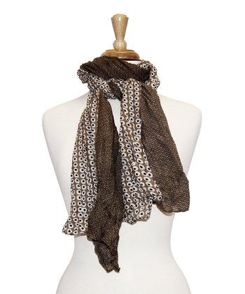 Brown Two Tone Little Dots Scarf