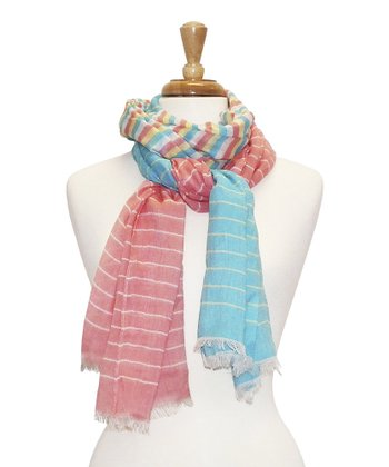 Coral Stripe Feather Scarf
