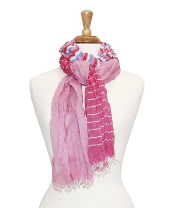 Pink Stripe Feather Scarf