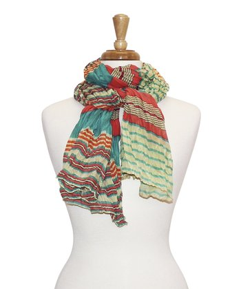 Coral Stripe Bright Scarf