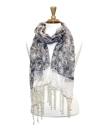 Grey Lacy Embroidered Floral Scarf