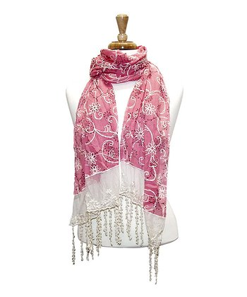 Pink Lacy Embroidered Floral Scarf