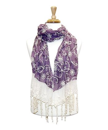 Purple Lacy Embroidered Floral Scarf
