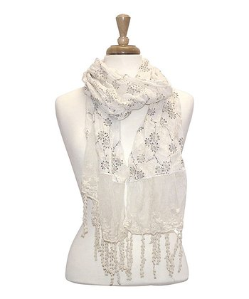 White Lacy Embroidered Floral Scarf