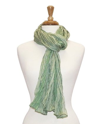 Green Stripe Bright Crinkle Scarf