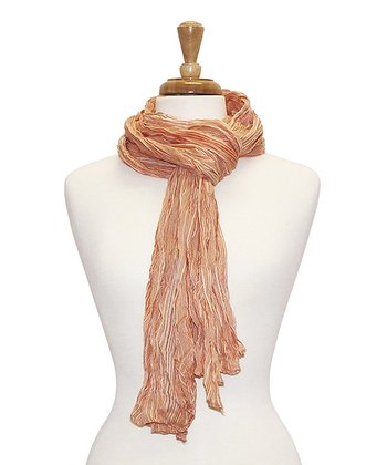 Orange Stripe Bright Crinkle Scarf