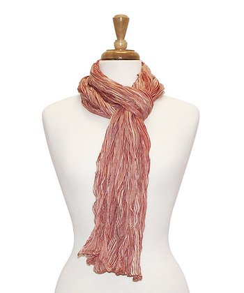 Red Stripe Bright Crinkle Scarf