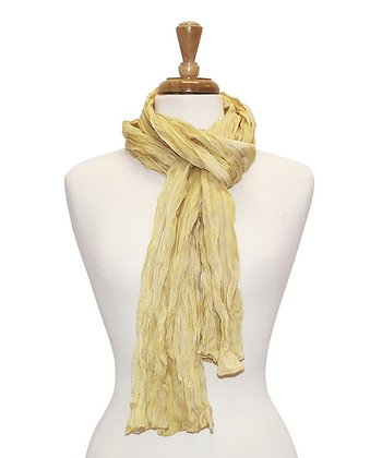Yellow Stripe Bright Crinkle Scarf