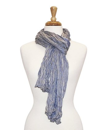 Blue Stripe Bright Crinkle Scarf
